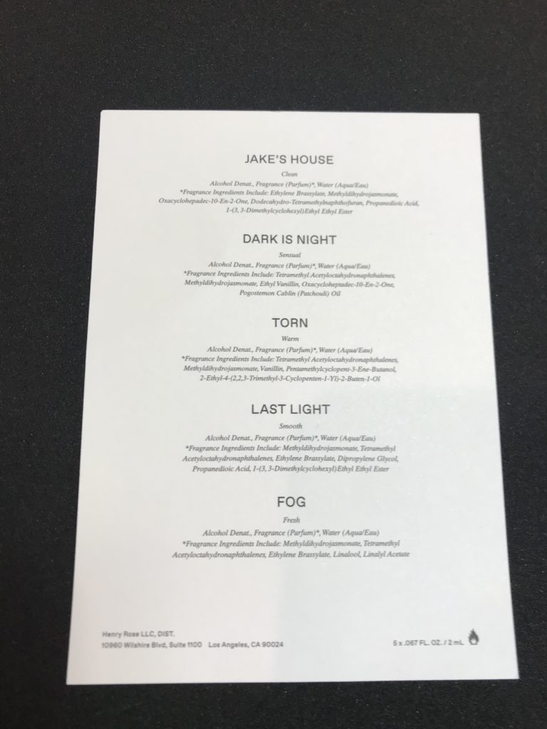 Henry Rose ingredients list